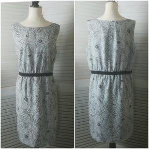 Loft Abstract Floral Gray & Black Sheath Dress